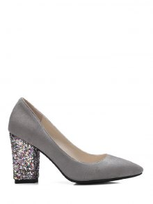 Glitter Sequined Pointed Toe Pumps Image