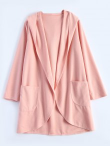 Cotton Open Front Coat - Pink S