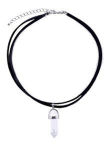 PU Leather Rope Faux Gem Pendant Necklace - White And Black