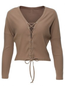 Lace Up Ribbed Cropped Cardigan