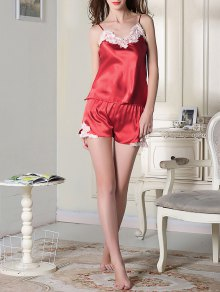 Satin Cami Top and Shorts Sleep Suit - RED M