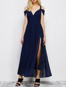 Cold Shoulder Slit Maxi Prom Dress - Purplish Blue