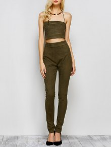 High Rise Suede Pants With Tube Top - Army Green
