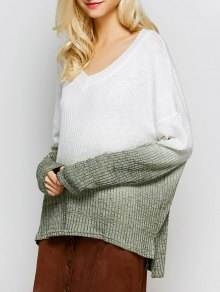 Ombre High-Low Knitwear - White S