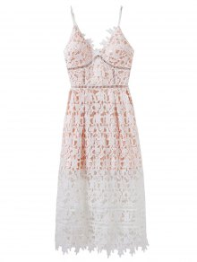 Lace Hollow Out Slip Dress - White