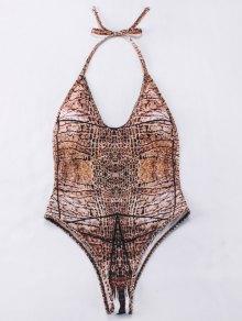 Backelss Tie-Dyed One-Piece Swimwear - Brown M