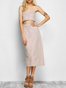 Suede Bodycon Skirt with Tube Top