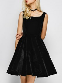 Square Neck Velvet Vintage Dress - Black