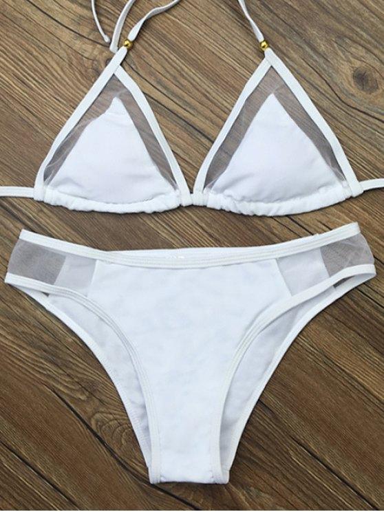 fashion Voile Panel See-Through Bikini Set - WHITE M