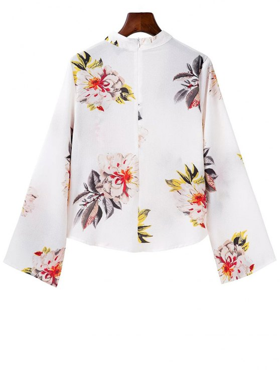 Bell Sleeve Floral Choker Top - WHITE L Mobile