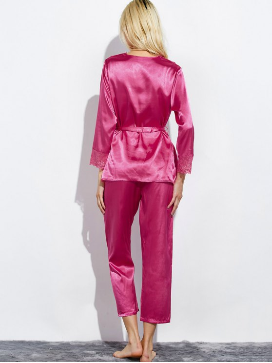 Belted Lace Insert Nightwear Pajamas - ROSE RED M Mobile