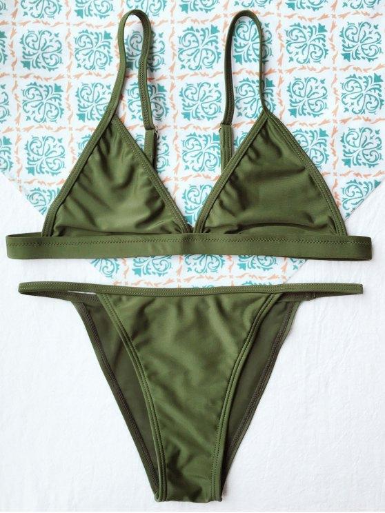 lady Tiny Unlined String Bikini Swimwear - ARMY GREEN M