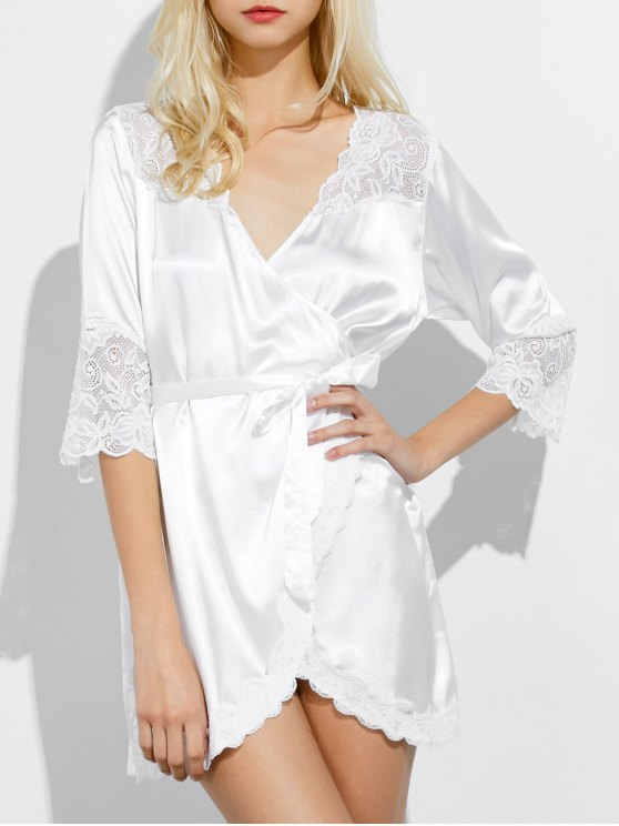 affordable Wrap Lace Panel Sleep Robe - WHITE M