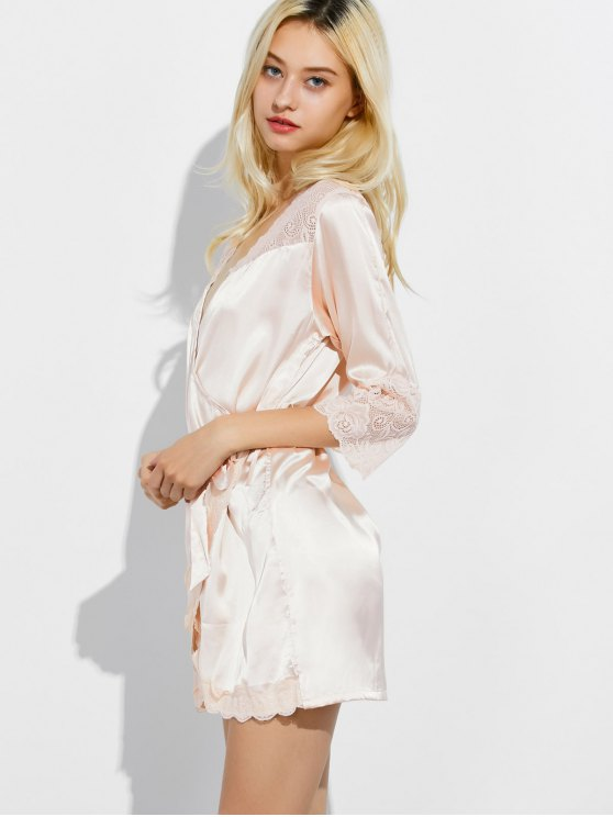 Wrap Lace Panel Sleep Robe - CHAMPAGNE L Mobile