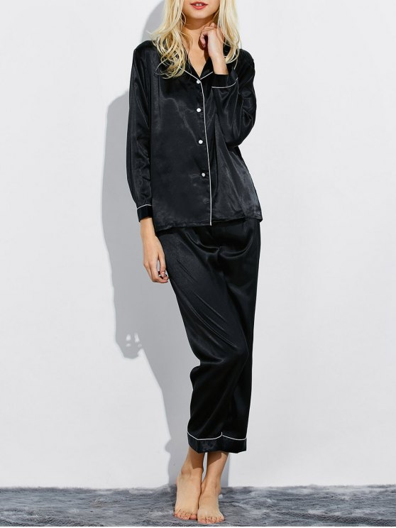 Fitting Silk Nightwear Pajamas - BLACK L Mobile