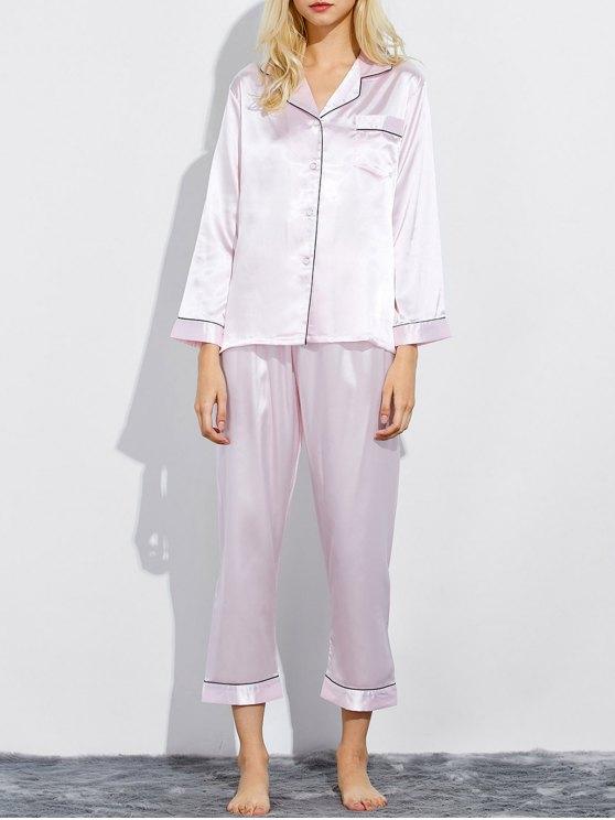 Montaje de seda ropa de dormir pijamas - Rosado Claro XL