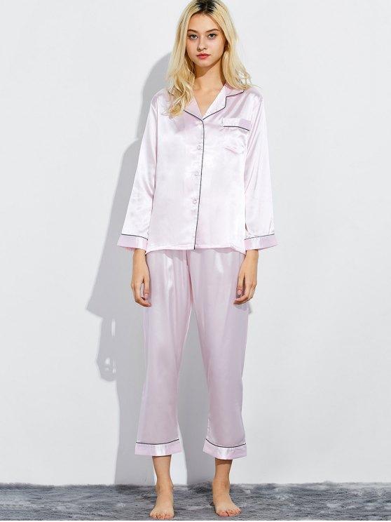Fitting Silk Nightwear Pajamas - SHALLOW PINK XL Mobile