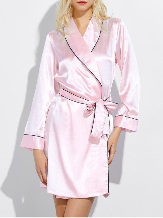chic Bowknot Wrap Sleep Robe - LIGHT PINK XL