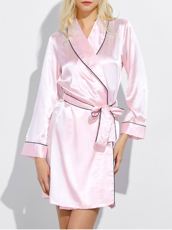 unique Bowknot Wrap Sleep Robe - LIGHT PINK M