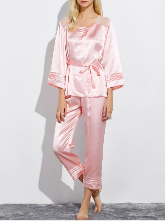 affordable Lace Panel Bowknot Nightwear Pajamas - LIGHT PINK XL