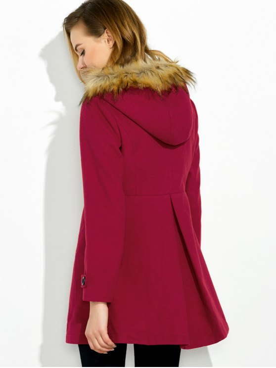 A Line Wool Blend Hooded Coat - RED XL Mobile