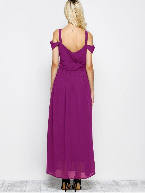 Cold Shoulder Slit Maxi Prom Dress - PURPLE M Mobile