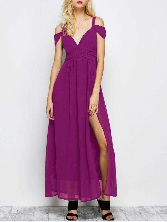affordable Cold Shoulder Slit Maxi Prom Dress - PURPLE M