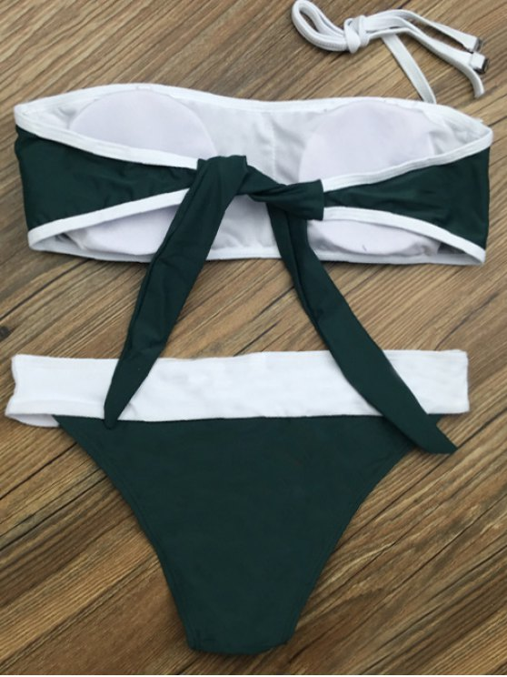 Color Block Star Patched Bikini Set - GREEN XL Mobile