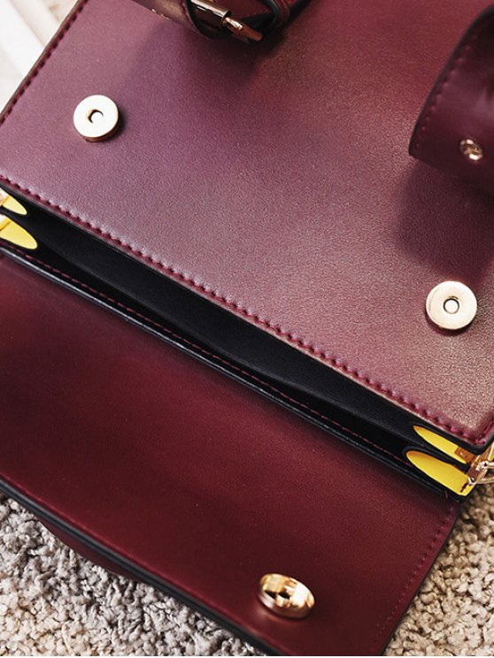 Color Block Eyelets Double Buckles Crossbody Bag - BURGUNDY  Mobile