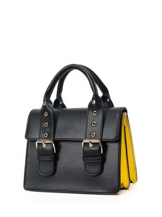 Color Block Eyelets Double Buckles Crossbody Bag - BLACK  Mobile