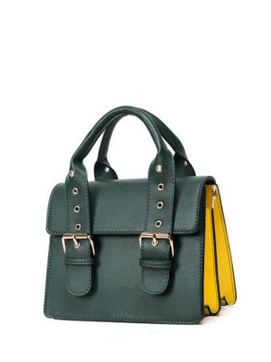 Color Block Eyelets Double Buckles Crossbody Bag - BLACKISH GREEN  Mobile