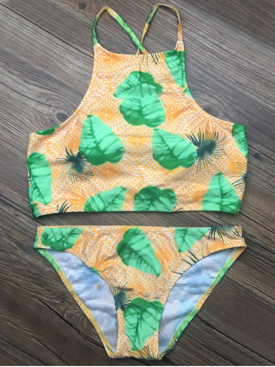 Crosscriss Tropical Print Bikini Set - GREEN L Mobile