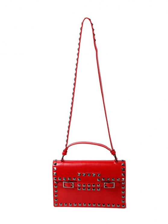 Buckle Strap Metal Rivet Crossbody Bag - RED  Mobile