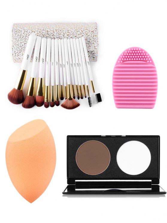 Makeup Brushes Kit + Pressed Powder Kit + Makeup Sponge + Brush Egg - COLORMIX  Mobile