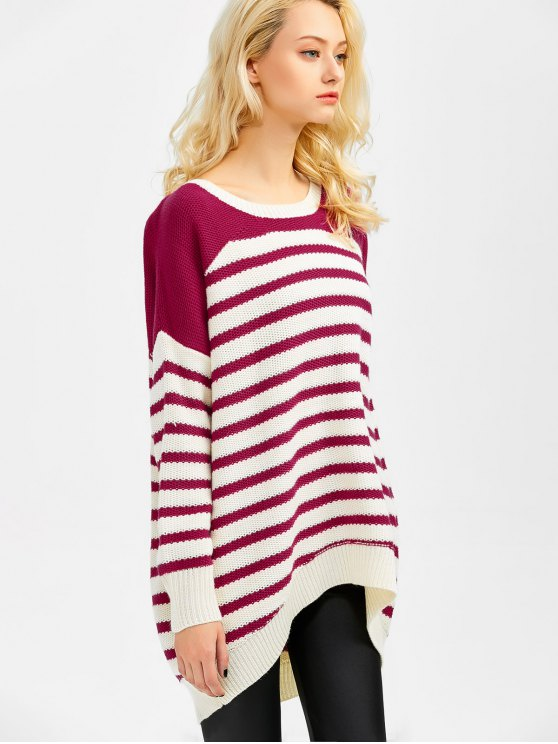 Striped Oversized High Low Sweater - WINE RED 2XL Mobile
