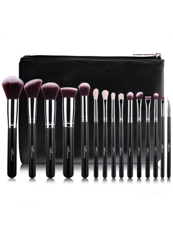 Makeup Brushes Kit + Eyeshadow Kit + Beauty Blender + Eyelash Curler - BLACK  Mobile
