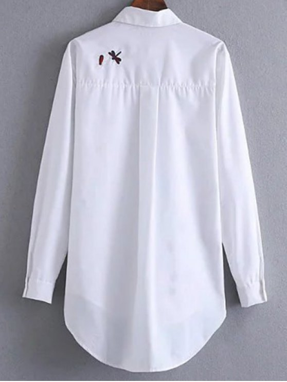 Long Embroidered High-Low Shirt - WHITE L Mobile