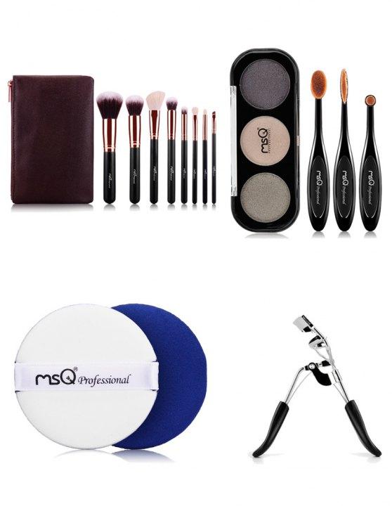 Makeup Brushes Kit + Eyeshadow Kit + BB Cream Puff + Eyelash Curler - COLORMIX  Mobile