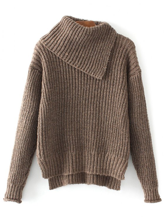 High-Low Chunky Sweater - COFFEE ONE SIZE Mobile