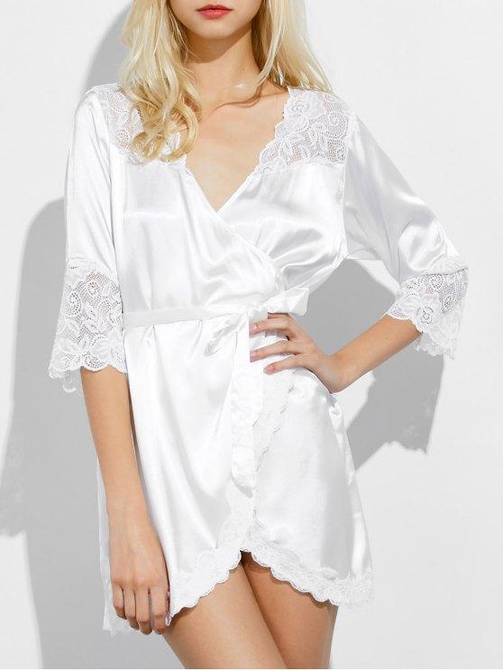Wrap Lace Panel Sleep Robe - WHITE M Mobile