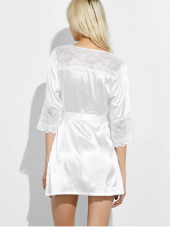 Wrap Lace Panel Sleep Robe - WHITE L Mobile