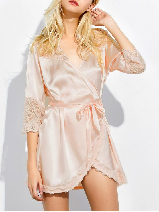 Wrap Lace Panel Sleep Robe - SHALLOW PINK M Mobile