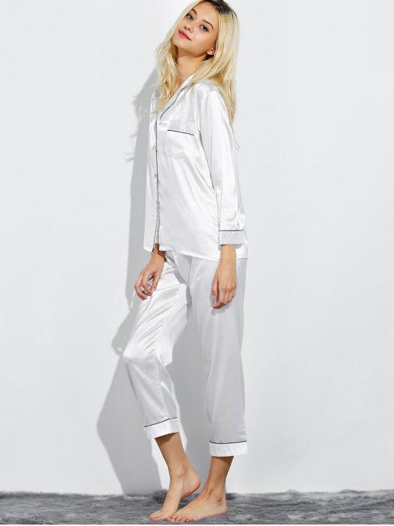 Fitting Silk Nightwear Pajamas - WHITE L Mobile