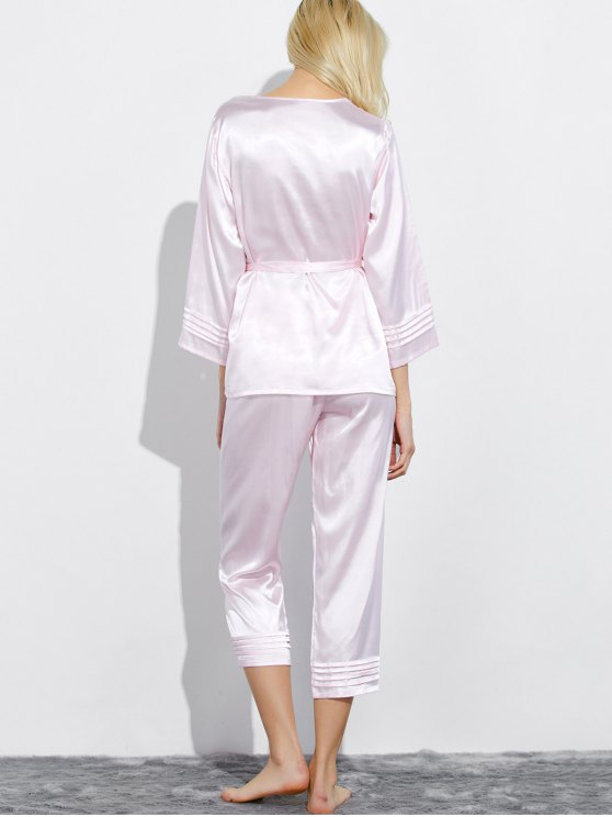 Lace Panel Bowknot Nightwear Pajamas - SHALLOW PINK M Mobile