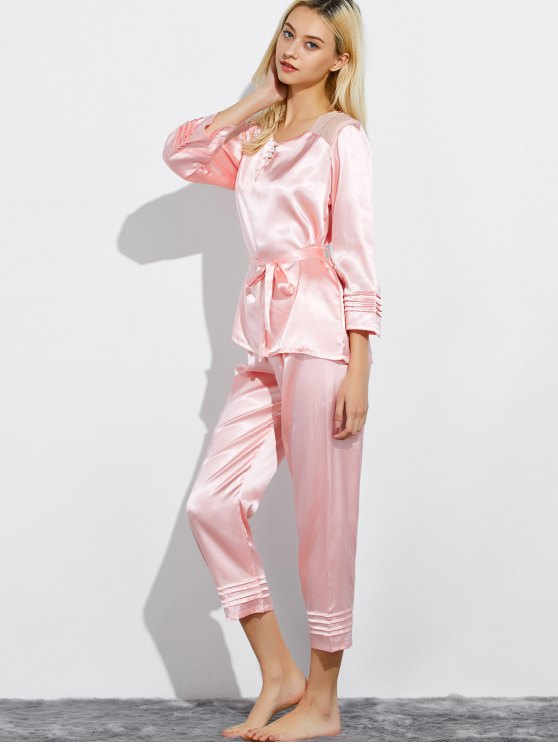 Lace Panel Bowknot Nightwear Pajamas - LIGHT PINK L Mobile