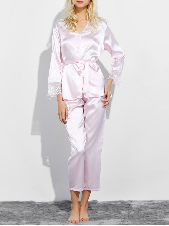 ladies Belted Lace Insert Nightwear Pajamas - LIGHT PINK M