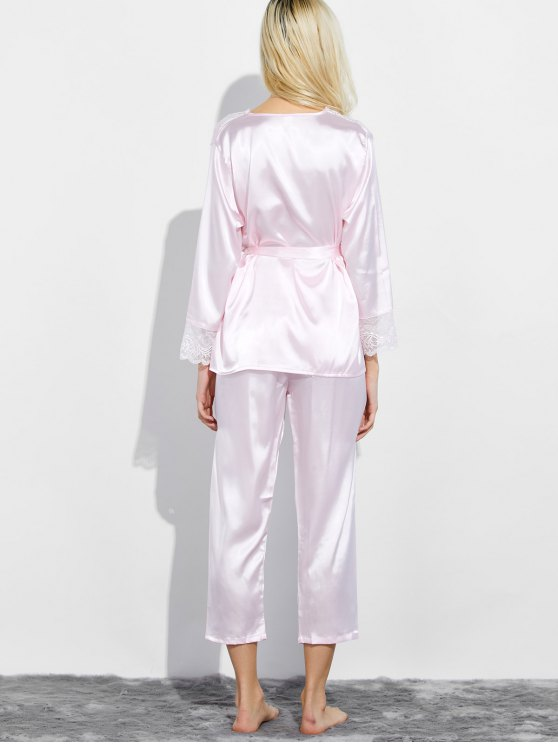 Belted Lace Insert Nightwear Pajamas - LIGHT PINK M Mobile