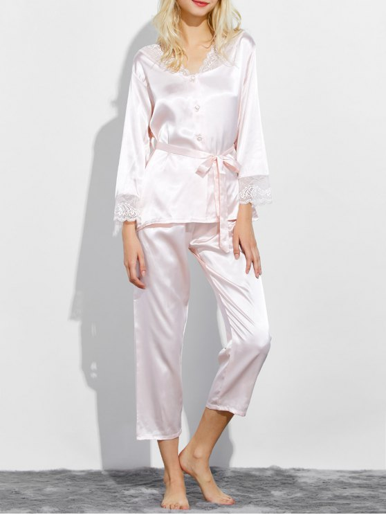 online Belted Lace Insert Nightwear Pajamas - SHALLOW PINK M