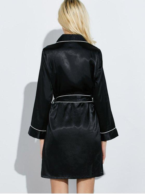 Bowknot Wrap Sleep Robe - BLACK M Mobile