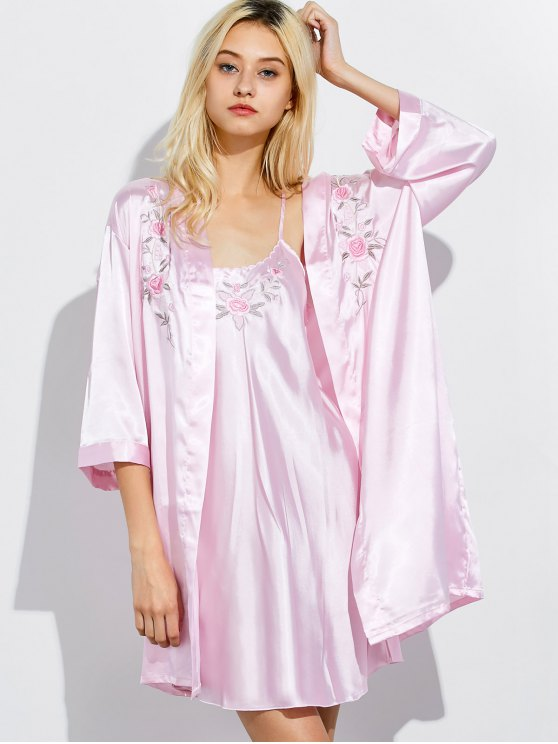 Embroidered Babydoll and Fitting Wrap Robe - LIGHT PINK XL Mobile